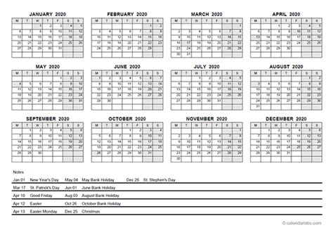 yearly calendar  ireland holidays