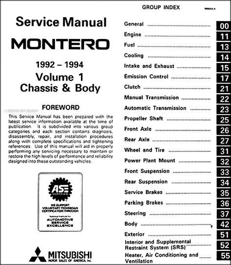 car repair manuals download 2005 mitsubishi montero auto manual 1992 1994 mitsubishi montero repair shop manual set original