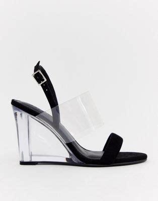 schwarze schuhe mit keilabsatz asos design asos design hastings schwarze schuhe mit transparentem keilabsatz