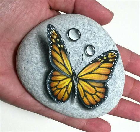 stone painting art monarch butterfly painted  natural
