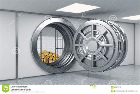 coffre fort a la banque rendu 3d d un grand coffre fort rond ouvert en m 233 tal dans un d 233 p 244 t de banque illustration stock
