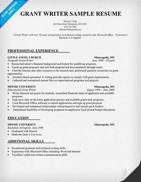 Resume Writers by Grant Writer Resume Template Http Resumecompanion