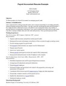 Resume Template Exle Accounting And Payroll Resume Sales Accountant Lewesmr