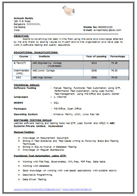 Java Resume Sle by Java Resume Points For Freshers 28 Images Fresh And Free Resume Sles For Cv For Java Resume