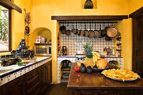and bright colours mexican style kitchen in 2019