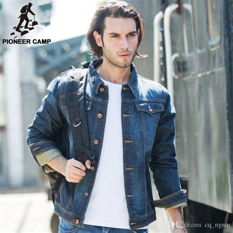 Pioneer Camp Mens Denim Jacket Brand 100% Cotton Casual Mens Jean Jacket Dark Blue Solid Coat ...
