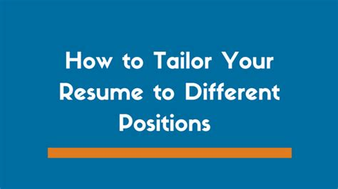 Tailor Your Resume by How To Tailor Your Resume To Different Exles