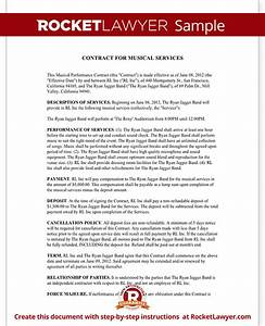 music performance entertainment contract agreement With music performance contract template