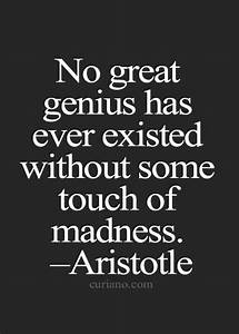 """No great ... Madness And Brilliance Quotes"