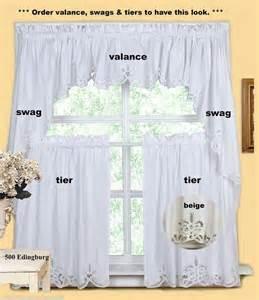 Jcpenney Home Sheer Curtains by Battenburg Kitchen Curtain Valance Tier Swag White Beige