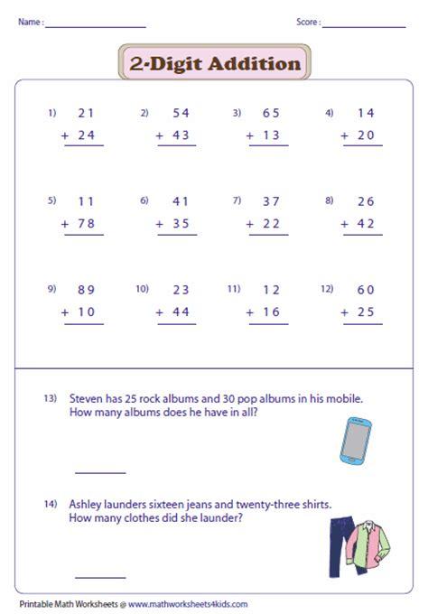 2 Digit Addition Worksheets