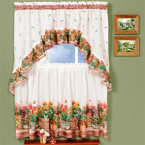 multi color sheer curtains achim sheer country garden multi colored printed tier and 3406