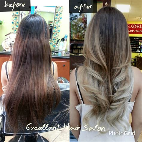 A Before And After Of The Ombre Balayage Haircut And Style