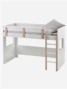 Lit Mezzanine Mi Hauteur : lit mezzanine mi hauteur everest blanc bois vertbaudet ~ Melissatoandfro.com Idées de Décoration