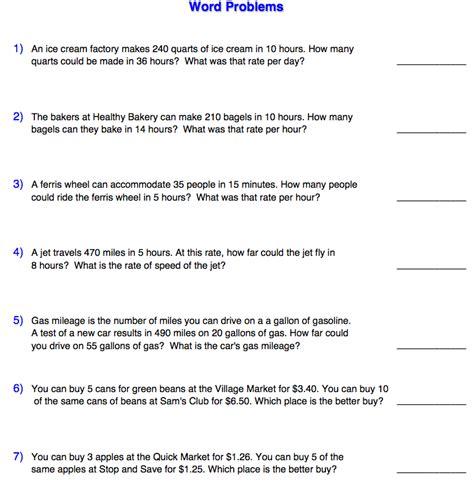 unit rate word problems worksheet  grade