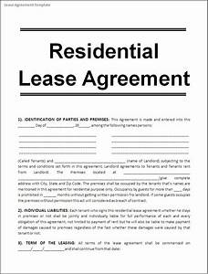 Printable sample free lease agreement template form real for Residential lease agreement document
