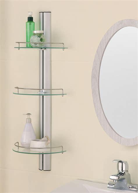 glass shower shelves three tier glass bathroom shelf