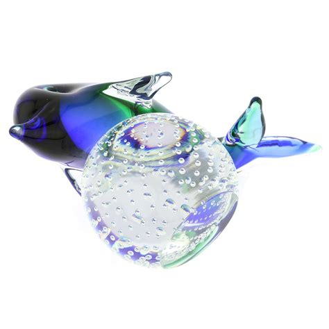 blue glass l base murano sculptures murano glass dolphin on base blue
