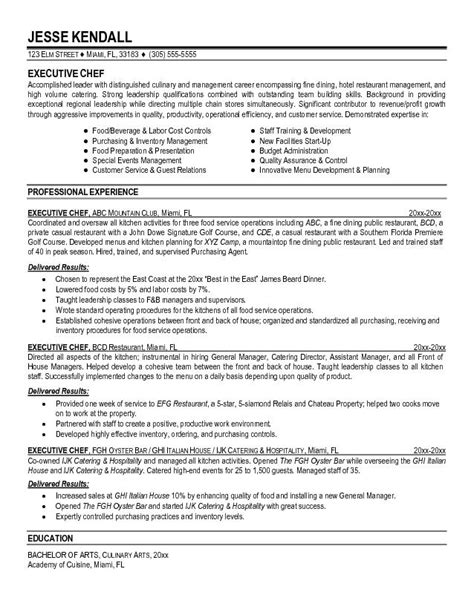 executive chef resume format this free sle was provided by aspirationsresume