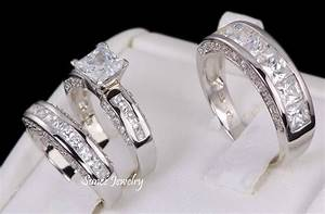 3pcs his and hers 925 sterling silver wedding bridal for Wedding rings his and hers sets