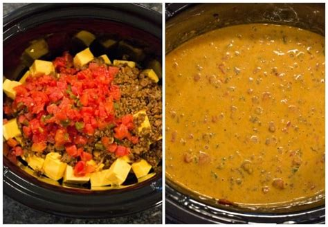 rotel dip with ground beef easy crock pot queso dip recipe
