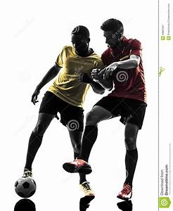 Two Men Soccer Player Standing Silhouette Stock Image ...