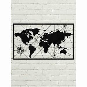 Tableau Du Monde : tableau d co en acier carte du monde couleur gris ~ Teatrodelosmanantiales.com Idées de Décoration