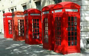 5 Red Telephone Booths, London, England