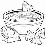 Coloring Avocado Bowl Guacamole Nachos Chips Vector Printable Chili Colorear Dip Clip Vettore Ciotola Libro Clipart Stomach Illustrations Colouring Aguacate sketch template