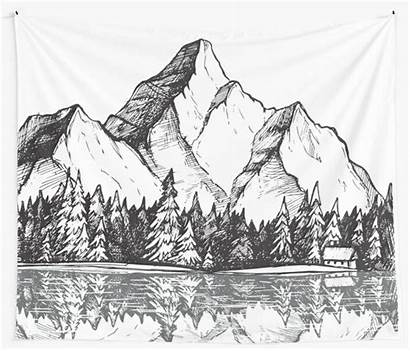 Mountain Drawn Landscape Drawing Forest Camp Mountains