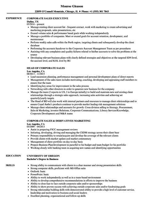 Corporate Resume by Corporate Sales Resume Sles Velvet