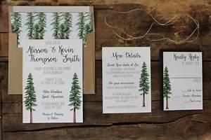 rustic tree wedding invitation woodland invitation set With redwood tree wedding invitations