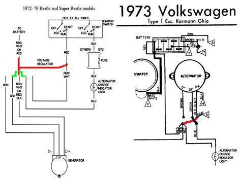 1973 volkswagen beetle converting generator to