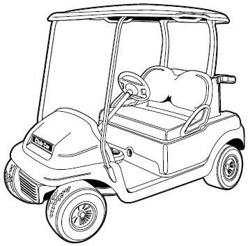 golf cart drawing sketch coloring page