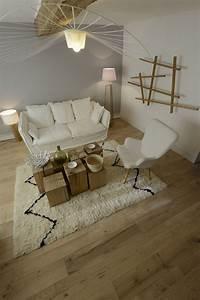 Deco Bois Et Blanc : d co salon parquet massif en ch ne association bois brut et blanc like ~ Melissatoandfro.com Idées de Décoration