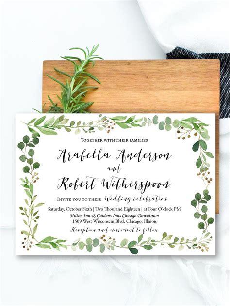 Greenery invitation template herb & botanical wedding