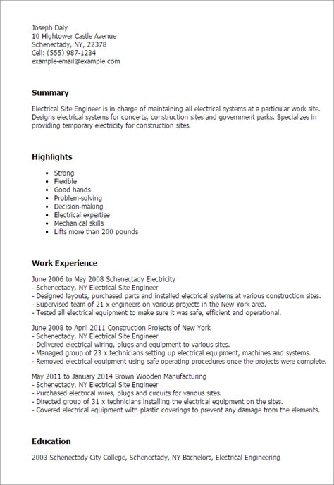 Site Engineer Resume by Professional Electrical Site Engineer Templates To