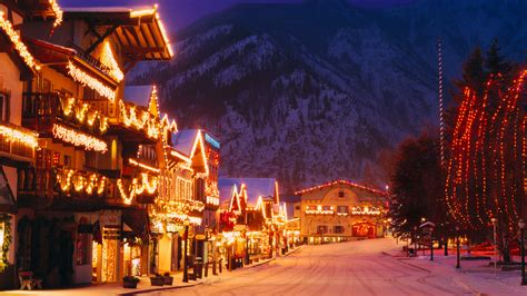 bavarian style village  cascade mountains decorated