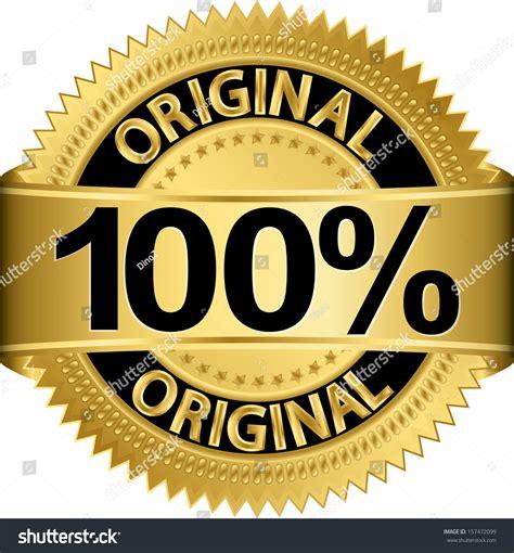 Golden 100 Percent Original Label Vector Stock Vector