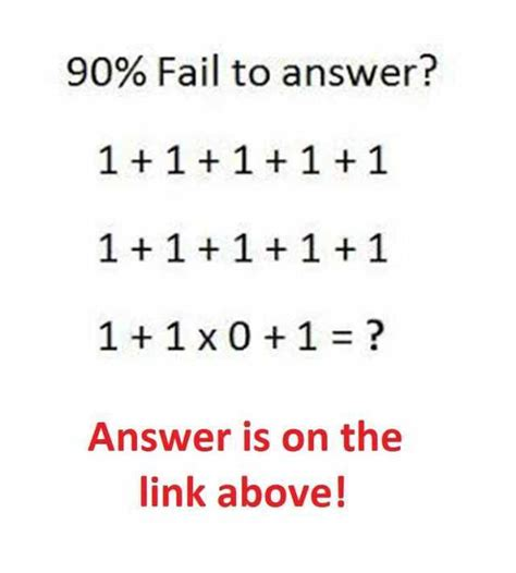 Dopl3rcom  Memes  90% Fail To Answer? 1+1x0+1=? Answer Is On The Link Above