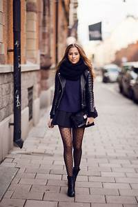 Navy blue sweater with black sleeves from IvyRevel // skirt from Other stories // Acne boots ...