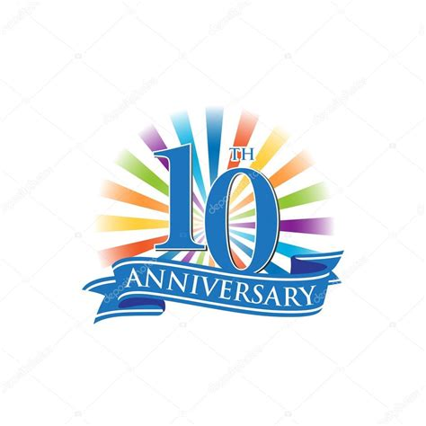 tenth anniversary 10th anniversary ribbon logo with colorful rays of light stock vector 169 ariefpro 113099452