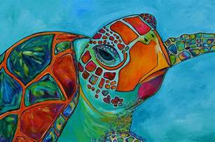 Colorful Sea Turtle Painting