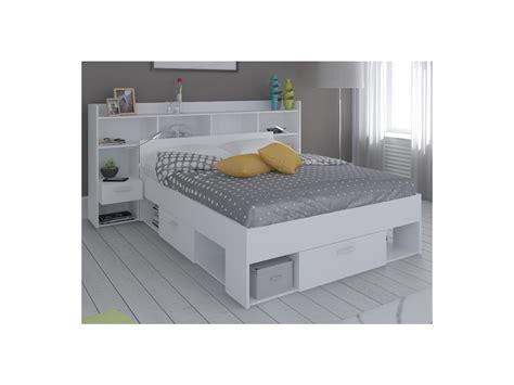coffre rangement chambre lit tête de lit kylian rangements 140x190 200 cm blanc