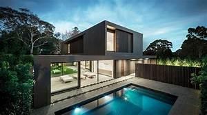 Belle Maison Moderne : magnifique maison contemporaine noire avec piscine 718x400 architecture moderne ~ Melissatoandfro.com Idées de Décoration