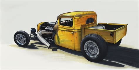 Pencil And In Color Drawn Truck