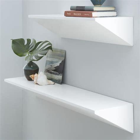 white floating shelf floating wedge shelf white west elm