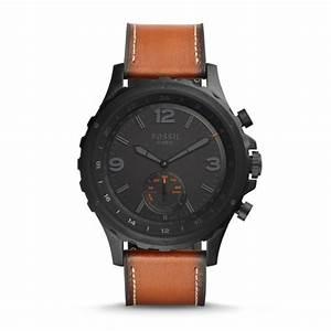 Montre Fossil Connectee : montre connect e hybride fossil q nate en cuir brun fonc ~ Voncanada.com Idées de Décoration