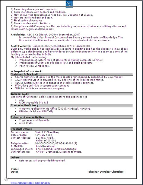 excellent resume format sle in word doc chartered