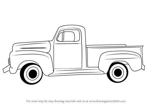step  step   draw  vintage truck drawingtutorialscom